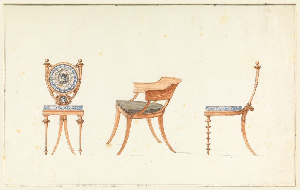 Showing three chairs, left, shown frontally, rear legs are in center and forked; back consists mainly of a disk between two horns. Center, obliquely shown, plan arm chair; right, foreleg surrounded by disks.