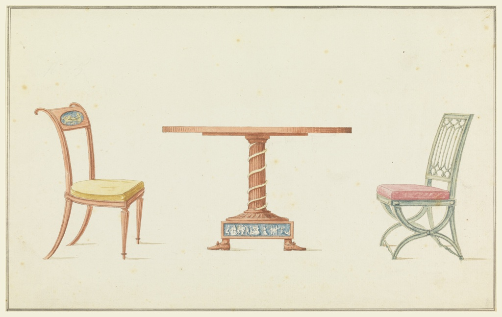 Circular table supported by fluted column decorated with snake coil in relief. Base showing frieze of classical figures in white on blue ground, table terminates with women's feet. Flanking table, left, chair with curved back, ovoidal medallion at top rail. Right, X-framed chair painted green, back splat in gothic tracery style.