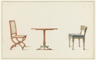 Drawing, Two Chairs and a Table