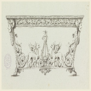 Curved legs with women's heads on top. Griffins flank a lyre on the ledge connecting the legs. Their tails end with rinceaux which rise along the legs. The frieze of the table top shows a frieze of palmettes and griffins.