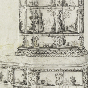 Stove made of porcelain tiles, lower part has three rows of tiles, top and bottom rows consist of landscapes alternating with a conventional design of acanthus scrolls, middle row, seascapes alternating with female figures representing saints or virtues.