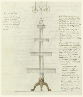 A stand with four circular tiers to display crystal objects.  On margin, explanations of the drawing.  It is a folded sheet of paper.  On the second page explanatory letter by Schinkel dated Febr. 16, 1812.  Explanation of drawing (in transl.): From the gilt rim of each disc a, b, c, d hangs a fringe of glass prisms which diminish in their size in the upper tiers.  A, b, c, d: circular discs, mirror-glass covered, and with a fine and narrow gold edging.  On these stand the various glass objects which--through the reflection of the mirrors--appear double and so to speak will seem to be swinging between the outer borders.  If the reverse of each of the discs would also be covered with mirror-glass, the effect of the mirror, placed back to back, would still be more striking.  The octagonal center column consists also of mirror-glass panels joined at the corners by very narrow gold bands.  Thus, the whole will have an appearance of extreme lightness and transparency which will be in complete harmony with the crystal object standing on it.  The whole composition will rest upon a golden foot (gilt) composed of leaves and lion's claws.  On the top disc stands a bronze candelabra, such as can be found already at Werner and Muth.  The gold ornaments are of gilded wood, and also the foot is made of wood, carved and gilded.