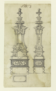 Porcelain stove seen frontally and from the side. The object is conceived as a tower, with onion-shaped top, surmounted by a basket, and rests on short legs. Scale and ground plan below.