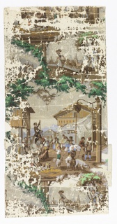 Landscape views with woman walking along river carrying basket, man carrying pig with a small flock of sheep, market scene, vignetted in a framework of foliage.