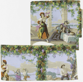 Three motifs of a paper with Neapolitan scenes enclosed in a framework of grapevine on a trellis: girl dancing the tarantella with man and woman watching; peasants mounting a hill, and man and woman picking grapes. Based on a drawing for the Sketching Society by Thomas (Urvins?), R.A., entitled 'Giving a Lesson', See Works of the Sketching Society, 1858, (VAM Library volume of lithographs), Wallpaper, Color Reproduction The Antique Dealer and Collectors Guide, London, September 1970, p.79.