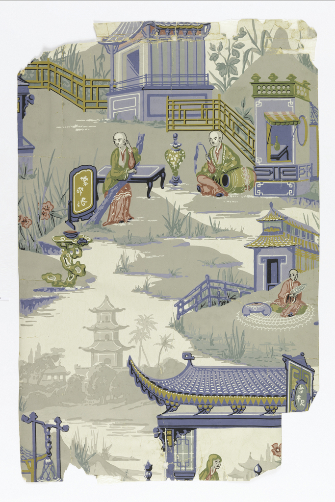 Chinoiserie; Incomplete unit of design showing broken landscape views with Chinese summer houses and figures in Chinese dress.