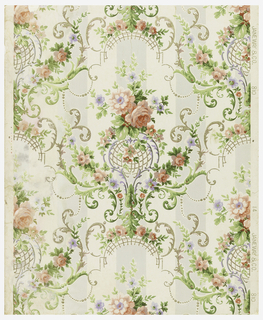 "Modified rococo design of green and gold scrolls, sprays of roses are festooned over scrolls. The background is composed of two wide stripes, one gray and the other ivory. Printed on margin: ""14, Janeway & Co., 810"". Printed in rose, green, mauve and gold on gray and ivory."