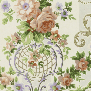 """Modified rococo design of green and gold scrolls, sprays of roses are festooned over scrolls. The background is composed of two wide stripes, one gray and the other ivory. Printed on margin: """"14, Janeway & Co., 810"""". Printed in rose, green, mauve and gold on gray and ivory."""