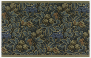 Full width, giving one and one-half repeats of an all-over pattern of dense foliage with clusters of cherries and other fruit, in colors of diminished intensity, against a blue-black field, the leaves outlined in neutral tan. Paper embossed in raised vertical strokes, set in chevron bands. (Cheviot paper).