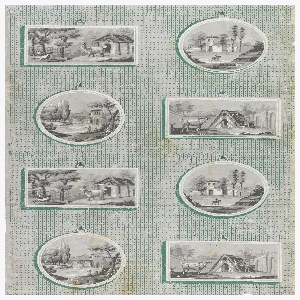 Full width. Against a field of vertical green stripes alternating with lines of dots, are trompe-l'oeil hanging framed pictures in two vertical lines, alternating circular and rectangular; the circular frames enclose landscapes with buildings, the rectangular frames show yards with gates.