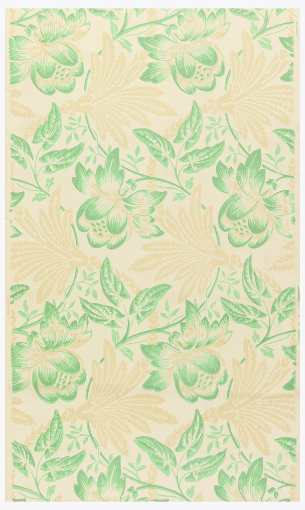 Three and one-half repeats of serpentine design of green morning glory foliage set with large peony-like blossoms and interwined with subordinate conventionalized foliage. Vining floral and foliate pattern, printed with green flowers on vine and tan leaves. Printed in buff and greens on tan ground. Zuber Design No. 2791, in Zuber Archives, Livre No. 25.