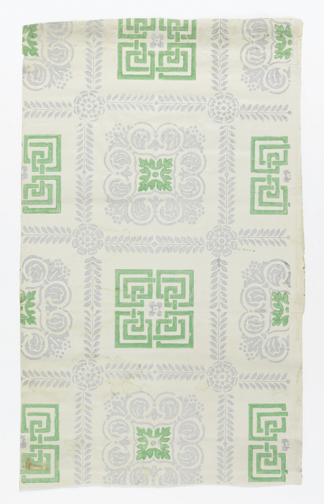 Framework of squares formed by conventionalized palmette branches, with rosettes at corners, enclosing alternating motifs of meander and foliage rinceaux. Printed in green and pale violet.