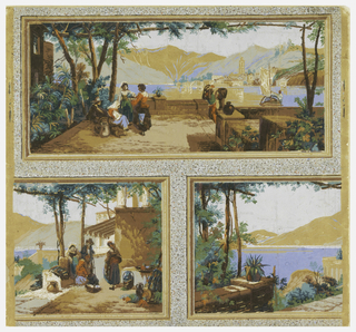 Two scenes of Italy enframed in simulated moldings, in brick or ashlar block format, separated by a field of gray pebble-work. At top, a long horizontal rectangle showing peasants on a terrace or landing stage overlooking a bay or lake with mountains rising from the farther shores. Below, left and right, are halves of a similar medallion placed back to back.