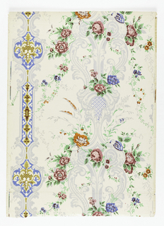 In bright blue, pink, and orange, shaded with maroon, flowers with bright green foliage spring from scrollwork stripes in grey blue and gold.  Total of seven colors on white satin ground.