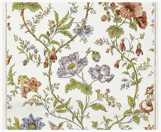 Vining floral design, with red and lavender poppies and blue flowers. Printed on white ground.