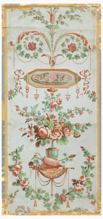 Arabesque design. Central motif of large bouqet of flowers in urn. Below and in front of this sits a ewer on a lambrequin. Rope swags and tassles suspended from rod which supports lambrequin.  Rose swag around lambrequin. Above the bouquet sits a cameo, with an urn on a balustrade against a pink background. The cameo is surrounded by a beaded framework. Printed in polychrome on a light blue-green ground.