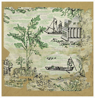 Man in a boat with group of ducks swimming nearby. Another pair of men with horses sitting under trees. Classical buildings and ship in distance. Printed in green, gray and black on off-white ground.