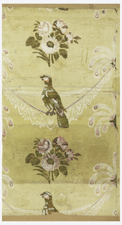 Central motif of parrot sitting on lace panel suspended from bunches of peacock feathers. This alternates with floral bouquet. Printed in varnished green, pink and white on yellow ground.