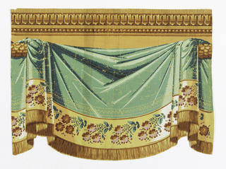 Green drapery swag, with yellow patterning. Band of floral sprigs at bottom, followed by fringe. Architectural molding with beading at top edge.