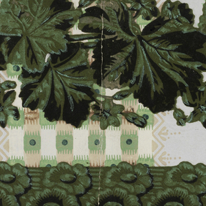 At top edge, vining foliatte band. Below, a rod with floral twist. At bottom edge, band of dentil. Printed in green flock with black overprint on striped sidewall background.