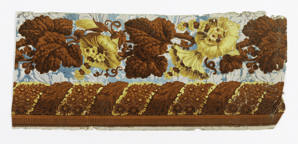 Top band of floral and foliatte, central band of rope twist with acanthus and floral motifs, bottom band of dentil. Printed in orange flock with overprinting, 2 shades of yellow and brown on grisaille foliate and blue-striped ground paper. Zuber ?