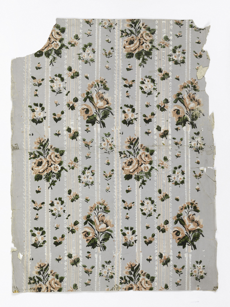 "Wider band of rose and floral motifs alternating with narrower band of ribbon or lace design. Original document for ""Nosegay"", floral stripe. Printed in pink, white and varnished green on a gray ground."