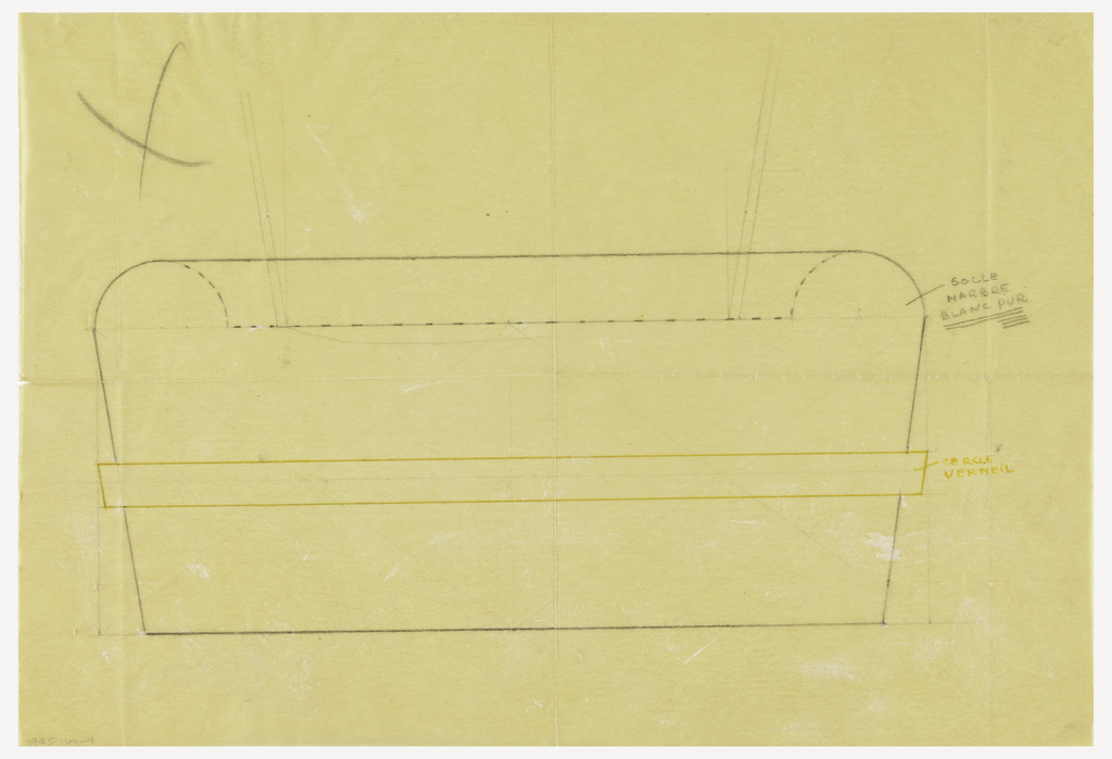 Rectangular base tapering toward bottom with rounded upper corners drawn in elevation.  To be executed in white marble with a central applied vermeil band indicated in pen and yellow ink.  Lines drawn to indicate object sitting in well.  Underdrawing in graphite of based in golden section.