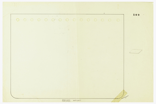 Rectangular blotter, the two lower corners with rounded edges. The upper edge decorated with studs indicated in yellow color pencil to be executed in vermeil. To the right a small graphite drawing of the blotter in perspective.