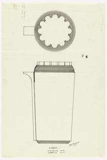 Cylindrical body drawn in plan and elevation. The curved surfaces of lid, shoulder and foot with reeded decoration. Top of the lid with a scalloped-edged plate. Rectangular spout attached to the left side of the body. Underdrawing in graphite of cocktail shaker in golden section.