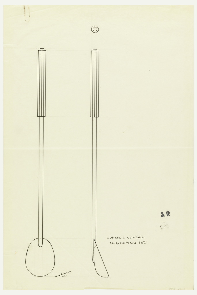Oval-shaped bowl with long handle drawn in elevation, profile, and plan. Top section of handle with fluted decoration. Underdrawing in graphite of spoon in golden section. Puiforcat Fabrication #: 75.