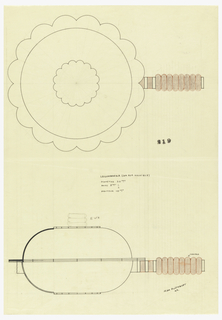 Round vegetable dish drawn in plan and elevation. Cover and sauce pan with a scalloped rim. The cover surmounted by a knob sitting in scalloped plate. The knob and handle comprised of circular rings. The handle in red ink and brown crayon to be executed in madera. Underdrawing in graphite of vegetable dish in golden section.