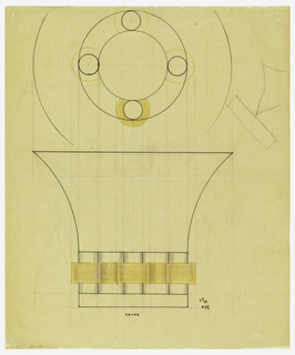 Flaring bowl drawn in plan and elevation. Lower third of body with applied protruding columns decorated along the center with an applied band conforming to the contours of the base. Indicated in yellow color pencil to be executed in vermeil. Raised on a circular base. Underdrawing in graphite of bowl in golden section. Unidentified graphite drawing upper right.