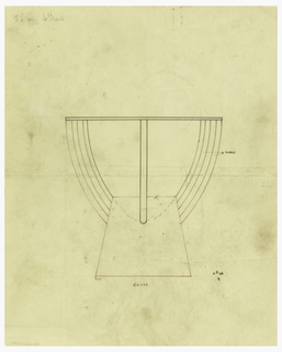 Cup drawn in elevation decorated on each side with an applied flange comprised of four tubes. Raised on a trapezoidal base drawn in red ink probably to be executed in wood.