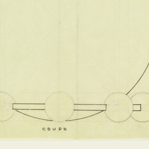 Spherical body with inverted lip drawn in plan and elevation raised on circular base decorated around the outer edge with large spheres indicated in off-white chalk. Underdrawing in graphite of bowl in golden section.