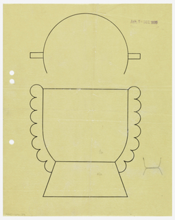 Round cup drawn in plan and elevation flanked by applied band with scalloped outer edge which continues down to the trapezoidal-shaped base. To the right of the base a small graphite drawing of the cup contour meeting base contour.