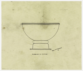 Flaring bowl with one applied band at rim raised on an inverted flaring foot with rim band of another material indicated in green color pencil connecting bowl and foot. To the left of bowl rim, profile section in graphite depicting protruding band.