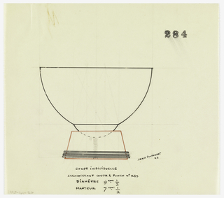 Flaring bowl indicated in red ink raised on a semi-circular stem that sits in a trapezoid-shaped base with three appied bands at foot. Central screw connecting bowl, stem and base indicated in graphite. Underdrawing in graphite of cup in golden section.