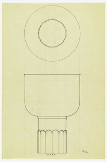 Flaring bowl drawn in plan and elevation raised on a cylindrical foot, the bottom two thirds with applied lobed decoration. Underdrawing in graphite of cup in golden section.