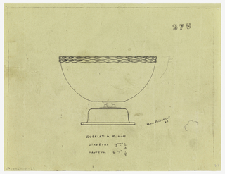 Flaring bowl with two applied wavy bands at rim raised on an inverted flaring foot with rim. Connection between bowl and foot unclear, possibly band of another material. Internal screw suggested in graphite. To right of bowl rim, profile section in graphite depicting protruding bands. Framing lines at top, right, and left.