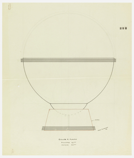 Flaring bowl with three applied bands raised on a semi-circular stem that sits in a trapezoid-shaped base with three applied bands at foot. The base in red ink to be executed in madera (?). Central screw connecting bowl stem and base indicated in graphite. Underdrawing in graphite of cup in golden section.