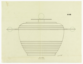 Bulbous body tapering at the bottom, the lower half decorated with seven applied bands. The rounded shoulder decorated with two applied bands, flanked by thin rectangular handles surmounted by ball decorations indicated in green ink. The circular lid comprised of a plinth, disc, and ball finial indicated in green ink. Underdrawing in graphite of tureen in golden section.
