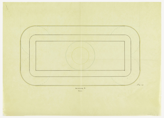 Rectangular tureen with rounded corners drawn in plan. Rectangular lid surmounted by a circular plate indicated in green ink and a circular finial indicated in yellow ink. Beneath each corner an unidentified element indicated in green ink. Underdrawing in graphite.