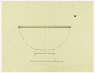 Flaring bowl with three applied bands at rim raised on an inverted flaring foot with rim. Band of another material indicated in green ink connecting bowl and foot. Central screw and plates connecting bowl and foot indicated in graphite.