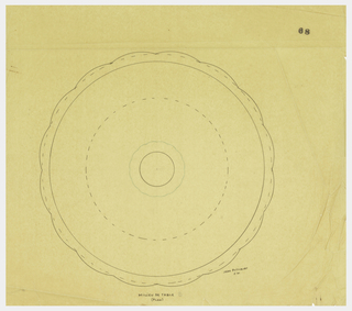 Circular body drawn in plan with scalloped outer edge and scalloped finial indicated in green ink. Underdrawing in graphite.