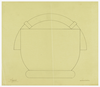 Circular tureen drawn in elevation. Rounded lid surmounted by an arched handle attached to lid by two applied bands. Handle appears to continue onto sides of the body. Raised on a thick circular base.