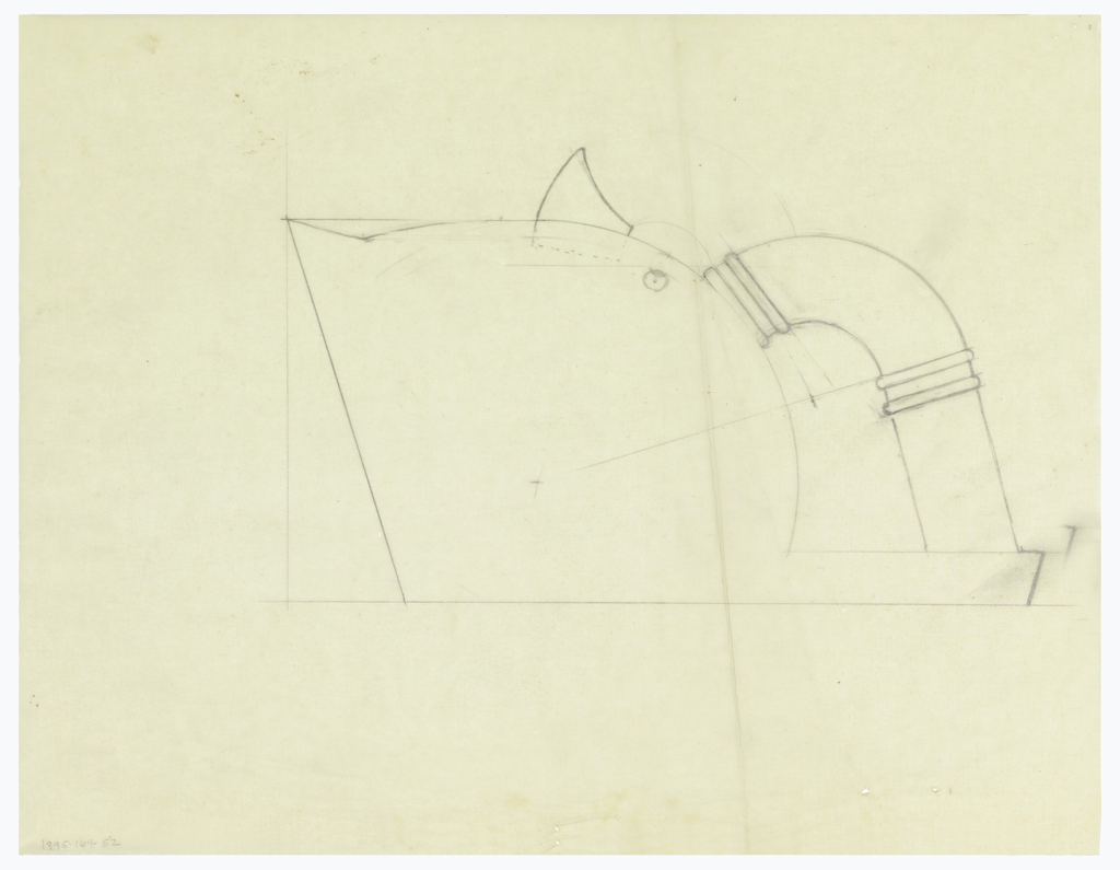 Prow-shaped teapot drawn in elevation, curved back and fitted lid surmounted by a triangular thumbpiece and downward curved handle decorated at top and center with two applied bands. Handle sits upon projecting base. Underdrawing in graphite of teapot in golden section.