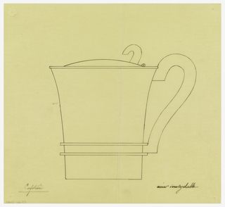 Flaring cylindrical coffeepot drawn in plan and elevation decorated around the lower center with two applied bands, the rounded lid with applied curved thumbpiece and a scroll handle.