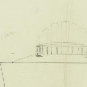 Cylindrical teapot with a rounded spout drawn in elevation decorated with thick vertical bands cinched at the middle around the base of the body, the rounded lid surmounted by a similarly decorated finial with alternate drawing of taller arched knob. Elongated scrolll handle connecting to the short circular base. Small sketch of spout drawn in plan above spout.