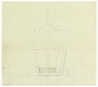 Cylindrical creamer with a rounded spout drawn in plan and elevation decorated with thick vertical bands cinched at the middle around the base of the body. Elongated scroll handle connected to the short circular base.