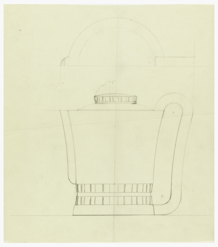 Cylindrical coffeepot with rounded spout drawn in plan and elevation, decorated with thick vertical bands cinched at the middle around the base of the body, the rounded lid surmounted by a similarly decorated finial with alternate drawing of taller arched finial. Elongated scroll handle connecting to the short cylindrical base.